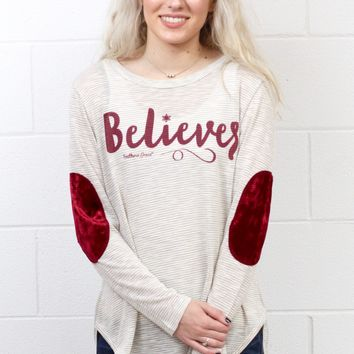 Believer Striped Long Sleeve w/ Velvet Elbow Patches {Ivory}