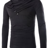 Button Design Cowl Neck Long Sleeve T-Shirt