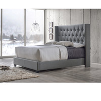 Baxton Studio Katherine Contemporary Espresso Button-tufted Grey Upholstered Bed   Overstock.com Shopping - The Best Deals on Beds