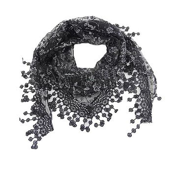 Lace Tassel Sheer Burntout Floral Print Triangle Mantilla Scarf Shawl Neck Wrap Lace Hollow Out Hook Floral Long Scarf