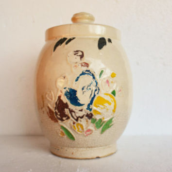 "Vintage McCoy Cookie Jar, Rare Cold Painted ""Dutch Boy"" Pottery, Hand Painted Clay Pottery, Farmhouse Collectible"
