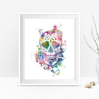 Sugar Skull Art Print, Day of the Dead, Watercolor Sugar Skull Candy Floral Skull Goth Art Wall Art Gift For Mom Home Decor Digital Download
