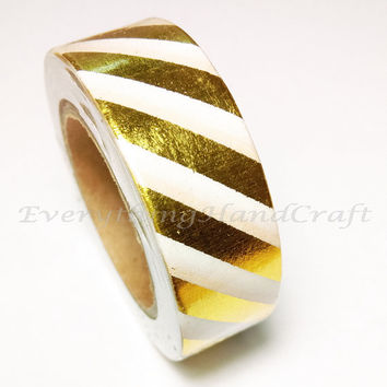 Washi Tape / Japan Sticky Adhesive Tape / Decorative Masking Tape Scrapbooking Tools Favor Stationery Stripe Gold Foil 10m g08