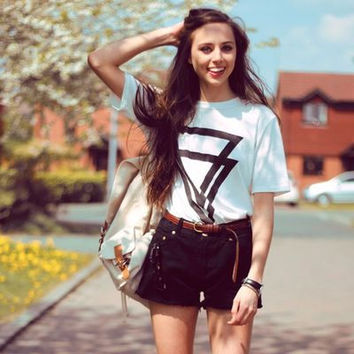 Print Summer Hot Sale Strong Character Short Sleeve Pullover Round-neck Ladies T-shirts [11148967055]