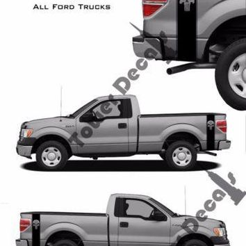 Truck Bed Side Stripes Vinyl Decals-Threeper Skull-Fits Ford F150 F250 F350