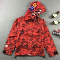 ca spbest Men's Bape Hoodie Windbreaker Sleeve Zipper Jacket