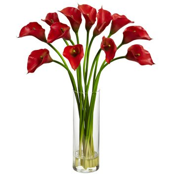 Artificial Flowers -Mini Red Calla Lily Flower Arrangement Silk Flowers