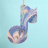 Hand Marbled Music Note Ornament Wood Craft