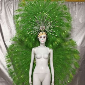 Custom Peacock Feather Costumes Fashion Show Carnival Dance Stage Wings