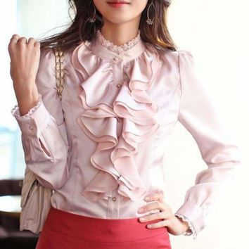 Lace Stand Collar Puff Long Sleeve Ruffles Collar Satin Slim Fitting Ladies Long Sleeve Blouse