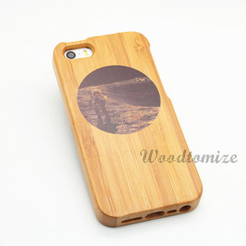 Real wood case, fly me to the moon, iPhone 5C case, iPhone 5S 5 case, Wood cover, Bamboo, FREE screen protector [A13]