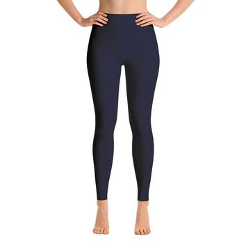 Solid Navy Yoga Leggings