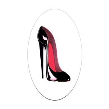 BLACK STILETTO SHOE ART STICKER (OVAL)