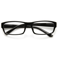 Modern Slim Rectangular Frame Clear Lens Casual Eye Glasses