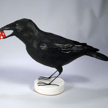 Las Vegas Crow with Dice Sculpture Blackbird Raven 13x8 Benbrook