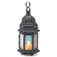 Gifts & Decor Iron Glass Magic Rainbow Candle Holder Hanging Lantern
