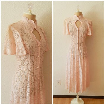 90s Vintage Romantic Country Chic Shabby Western Lace Stevie Nicks Panhandle Maxi Full Length Dress