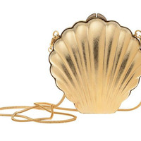 LANVIN ART DECO BRASS SHELL CLUTCH