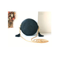 MCM Visetos Black Tambourine Round Tassle Golden Chain Shoulder bag