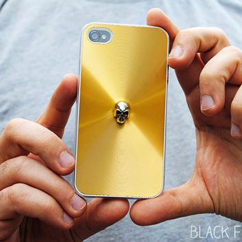 Gold iPhone Case Skull Spike 4 4s by theblackfeather on Etsy