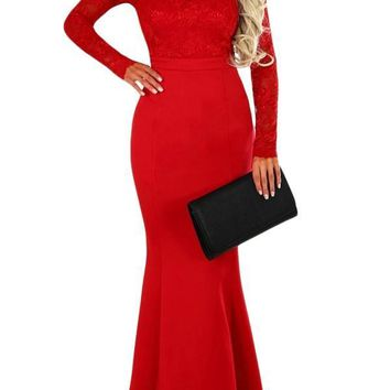 Chic Red Lace Long Sleeve Bow Back Maxi Party Dress