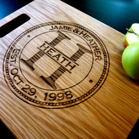 "Personalized Cutting Board, Custom Engraved -12"" x 15"" - Personalized Wedding Gift, Anniversary Gift"