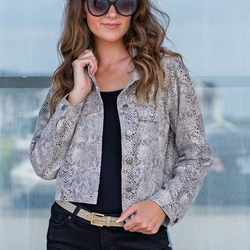 For The Thrill Snake Print Jacket : Cream/Black/Grey