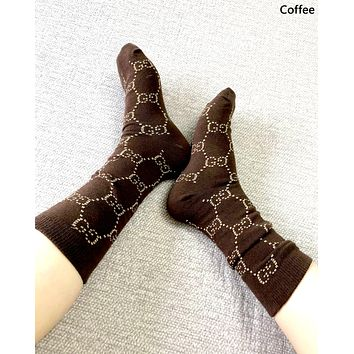 Free shipping-GUCCI tide brand female gold thread weaving socks Coffee