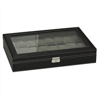 Large 24 Mens Watch Display CaseCollector Jewelry Box Glass Top
