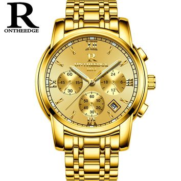 RONTHEEDGE Luxury Brand Quartz Watch Men's Gold Casual Business Stainless Steel Mesh band Quartz-Watch Fashion Men Clock RZY026