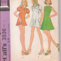 1970s vintage pattern fit and flare mini or knee length party or summer dress with dance pants misses size 14 McCalls 3536 CUT and COMPLETE