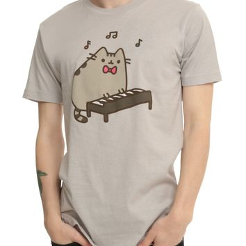 "Pusheen The Cat PLAYS THE KEYBOARD ""PIANO"" T-Shirt Grey NWT Licensed & Official"