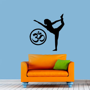 Girl Yoga Pose Pattern Om Sign Gym Decal Vinyl Sticker Wall Decor Home Interior Design Art  M770