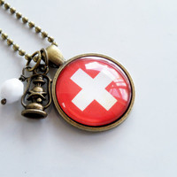 Flag of Switzerland Necklace - Swiss Flag - White Cross - Patriotic Pendant - Custom Jewelry - Travel Necklace - Red And White Flag Jewelry