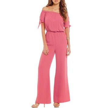 VONG2W 2017 new women candy color summer jumpsuit full length slash neck chiffon loose elegant playsuit female spring casual  romper