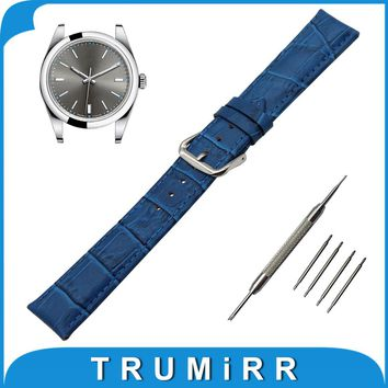 18mm 19mm 20mm 21mm 22mm Croco Genuine Leather Watch Band for Rolex Stainless Steel Pin Buckle Strap Wrist Belt Bracelet + Tool