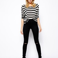 ASOS Ridley High Waist Ultra Skinny Jeans in Clean Black with Ripped K