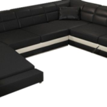 Large Leather Black Sectional, Black Large Leather Sofa - Opulentitems.com