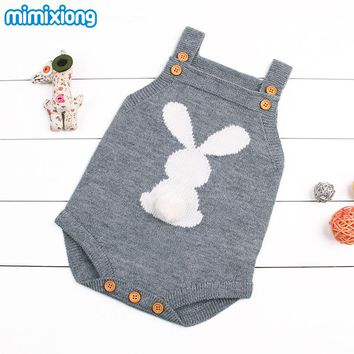 Cute Rabbit Knit Rompers Children's Winter Baby Girls Sleevless Sunsuit Outfit Clothes Toddler Newborn One-Pieces Jumpsuit 0-24M