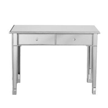 Mirrored Console Table/Vanity Table with 2 Drawers, Silver & Clear By The Urban Port