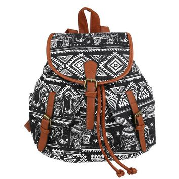 Tribal Print Drawstring Canvas Backpack