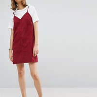 ASOS Cord Slip Dress in Washed Raspberry With Raw Hem at asos.com