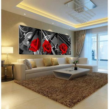 3 Pcs Wall Pictures for Living Room Restaurant Painting Modern Home Red Rose Picture Paintings Decoration Print on Canvas (No Fr