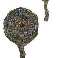 Art Nouveau Peacock Hand Mirror Collectible Decoration