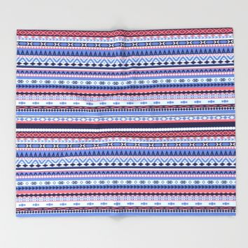 Blue and Coral Aztec Stripes Throw Blanket by Melissa Ba