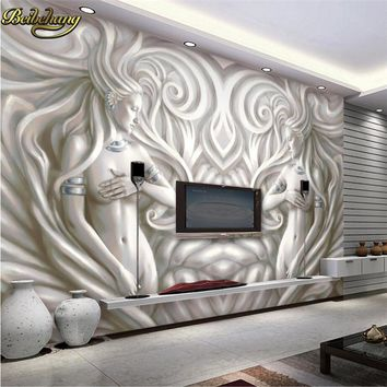 beibehang custom Embosse beauty sculpture photo wallpaper living room TV background 3d mural wall paper home decor contact-paper