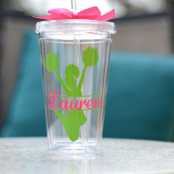 Cheerleader - Cheer Personalized Tumbler - Your choice of colors and personalization -Cheerleader gift