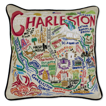 Charleston Hand Embroidered Pillow