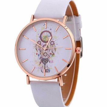 Watches woman 2017 Wind Chimes Pattern Quartz Wrist Watch For Leather Strap Watches Casual Montre Femme reloj de mujer #830