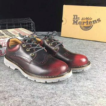 Hot Deal On Sale Crust Platform Shoes England Style Vintage Shoes Round-toe Dr. Martens Boots Wine red I-XYXY-FTQ